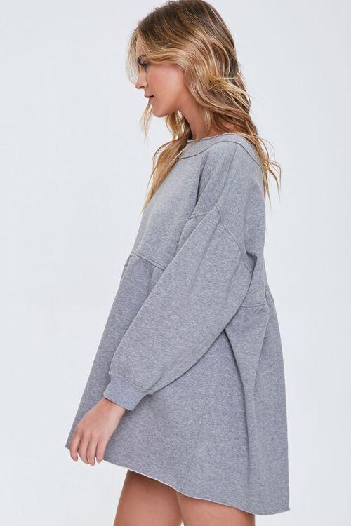 HEATHER GREY Fleece Drop-Sleeve Mini Dress, image 2