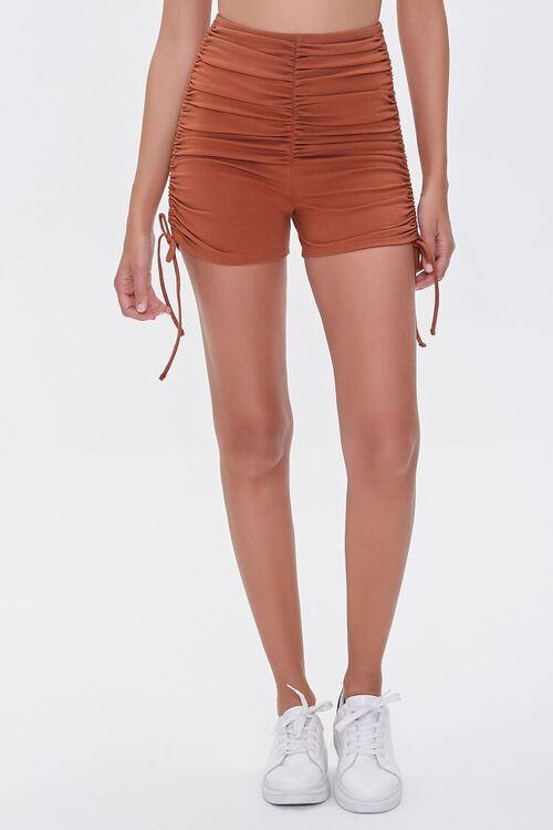 CHOCOLATE Ruched Lace-Up Shorts, image 2