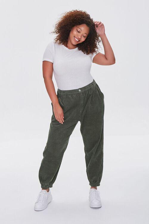 OLIVE Plus Size Corduroy Pocket Joggers, image 1