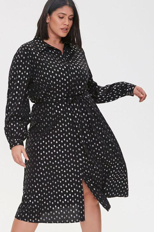 BLACK/SILVER Plus Size Polka Dot Shirt Dress, image 1
