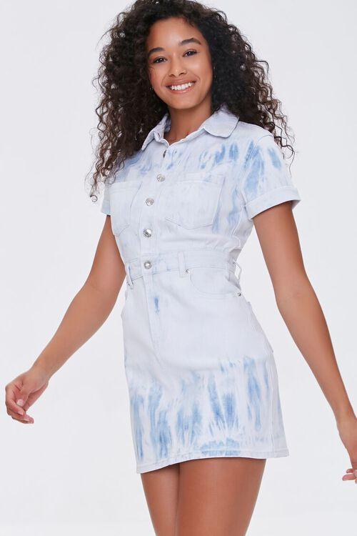 Bleach Dye Denim Mini Dress, image 1