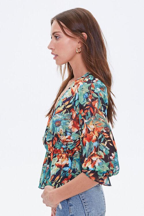 Floral Flounce-Hem Surplice Top, image 2