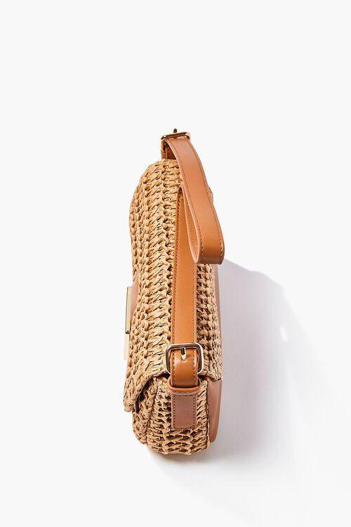 TAN/MULTI Faux Straw Shoulder Bag, image 2