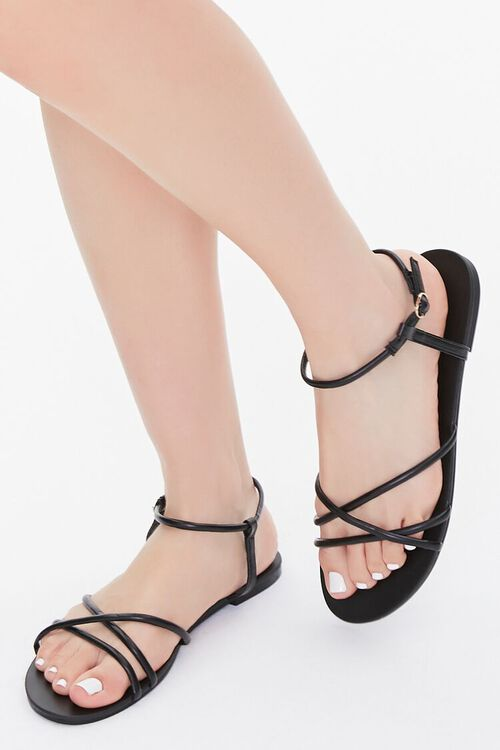 Strappy Faux Leather Sandals, image 1