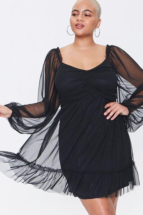 Plus Size Mesh Sweetheart Dress, image 1