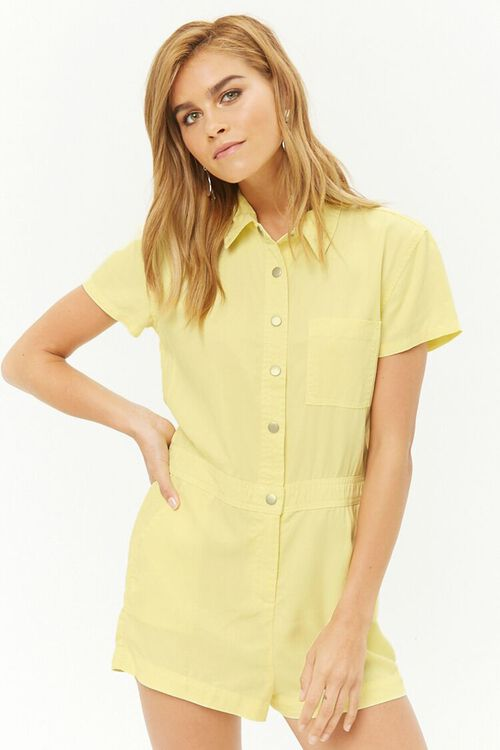 Chambray Button-Front Romper, image 1