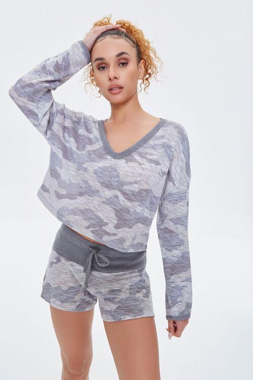 Camo Print Pajama Shorts, image 1