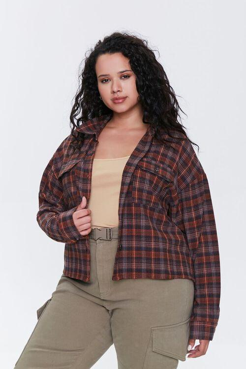 Plus Size Plaid Button-Up Shirt, image 1