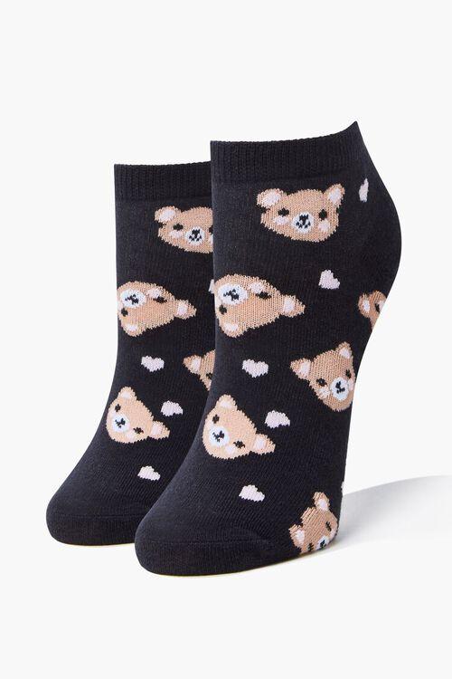 BLACK/MULTI Bear Print Ankle Socks, image 1