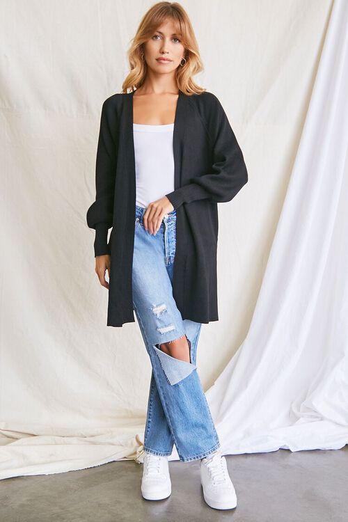 BLACK Seamed Cardigan Sweater, image 4