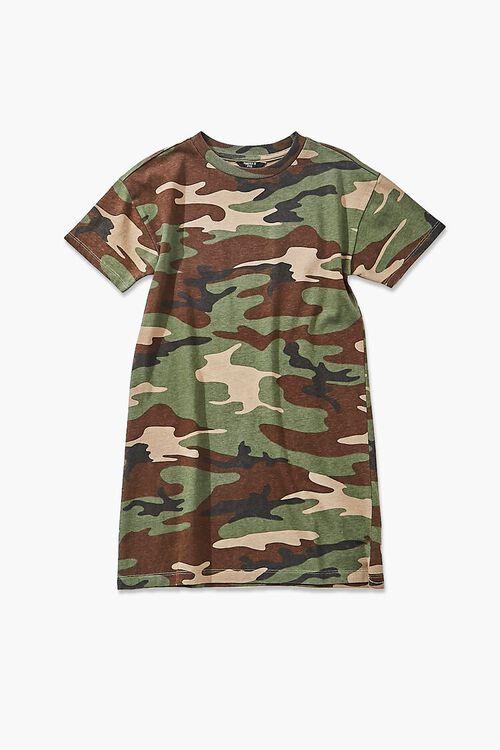 Girls Camo Print T-Shirt Dress (Kids), image 1