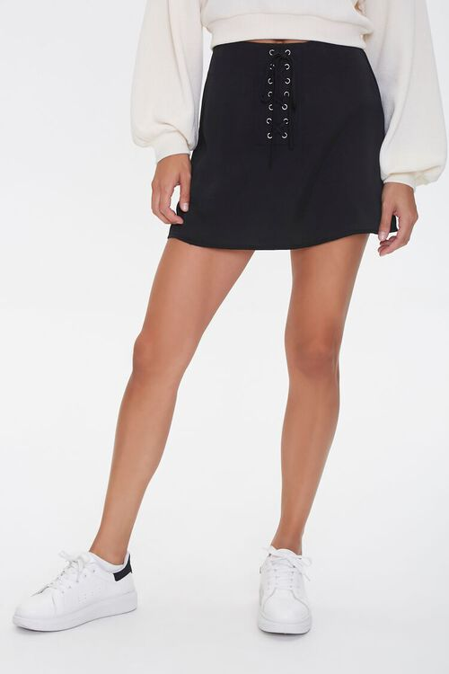 Lace-Up Satin Mini Skirt, image 2
