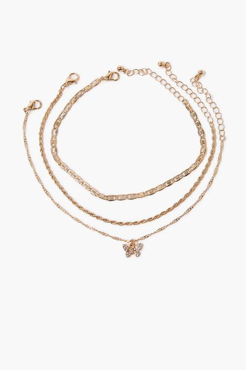 Butterfly Charm Chain Anklet Set, image 3