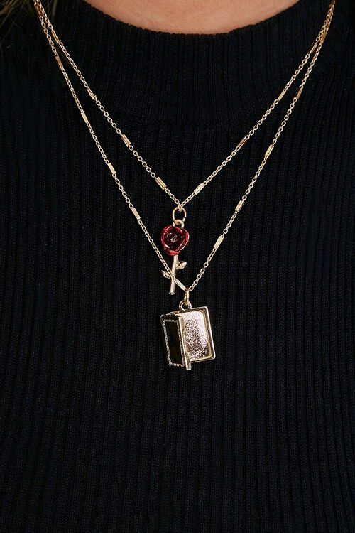 RED/GOLD Rose & Book Pendant Necklace, image 2