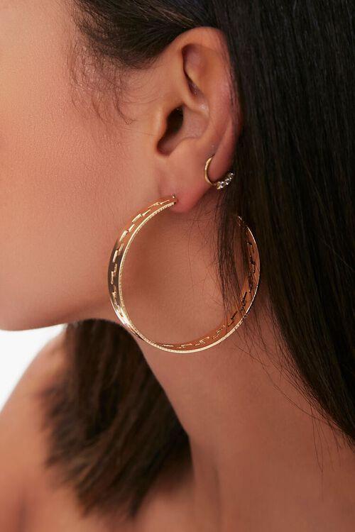 Geo Cutout Hoop Earrings, image 2