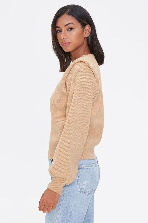 Ribbed Shoulder-Pad Sweater, image 2