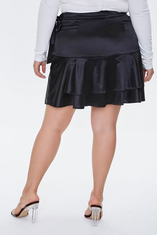 Plus Size Satin Ruffle Mini Skirt, image 4