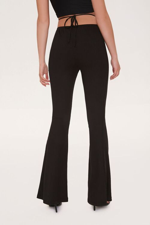 Ribbed Knit Self-Tie Flare Pants, image 4