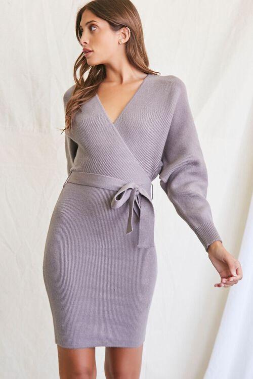 LIGHT GREY Sweater-Knit Wrap Dress, image 1
