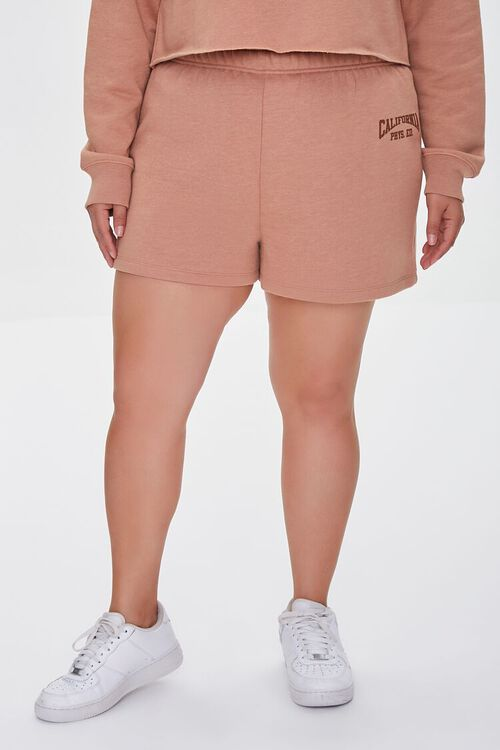 TAUPE/BROWN Plus Size Fleece California Shorts, image 2