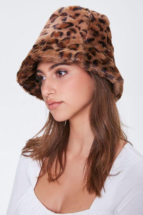 Faux Fur Leopard Print Bucket Hat, image 1