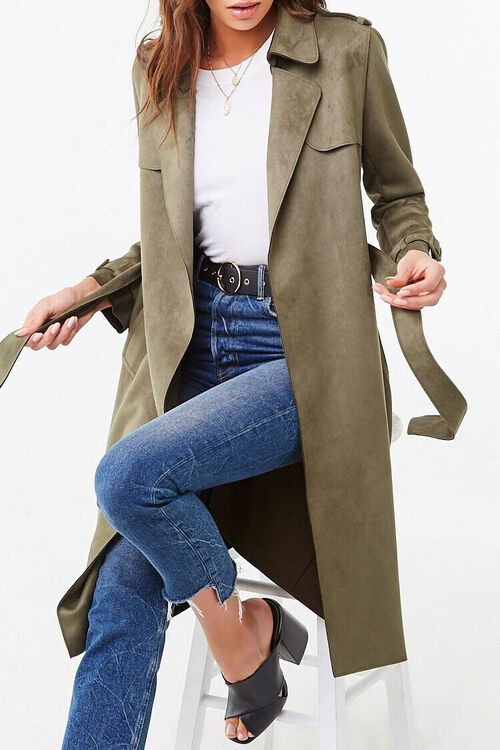 Faux Suede Duster Jacket, image 1
