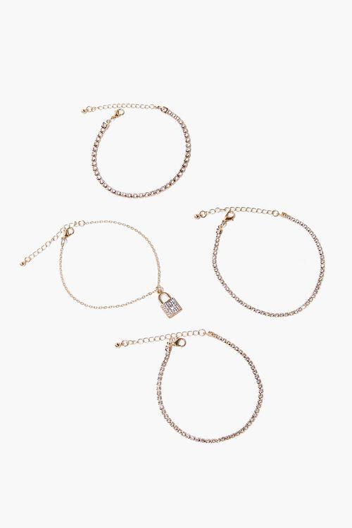 GOLD Lock Pendant Rhinestone Bracelet Set, image 3