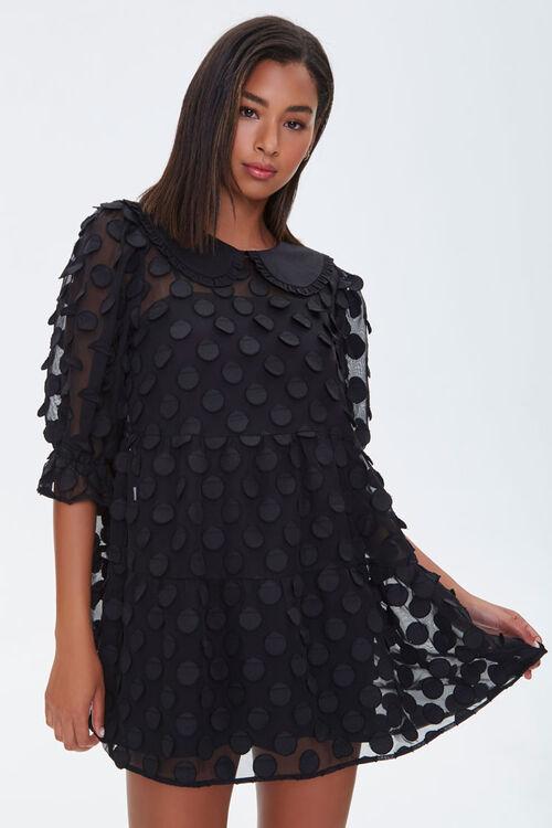 Polka Dot-Embellished Collared Dress, image 5