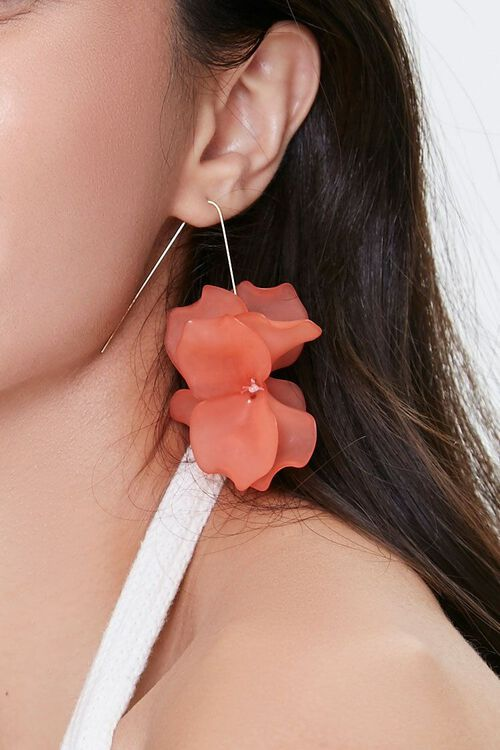 Floral Wire Drop Earrings, image 1