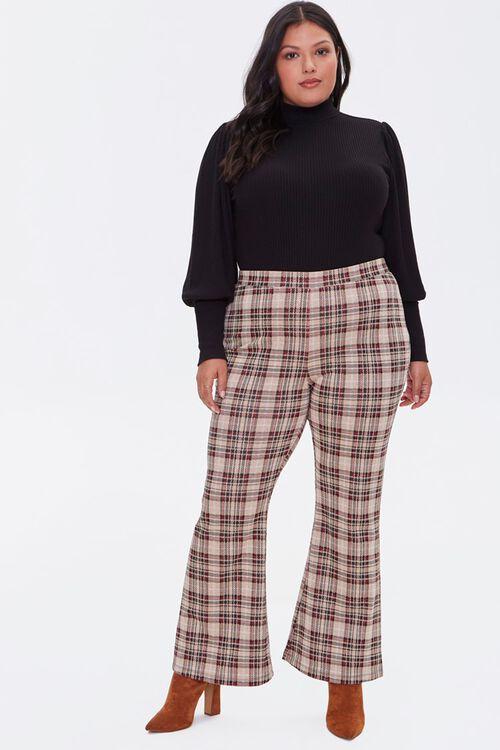 Plus Size Plaid Flare Pants, image 5