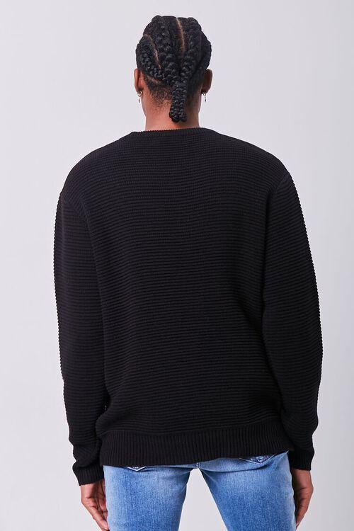 BLACK Ribbed Crew Neck Sweater, image 3