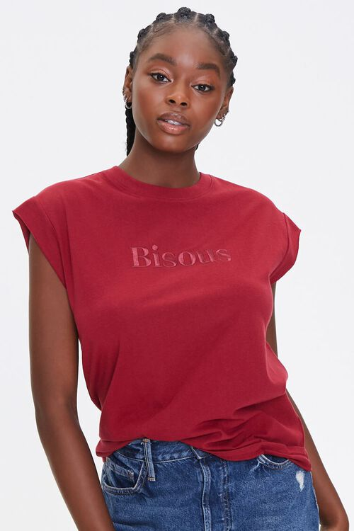 RED/RED Embroidered Bisous Tee, image 1