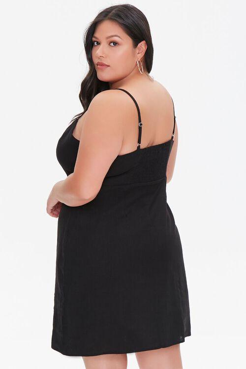 BLACK Plus Size Linen-Blend Mini Dress, image 3