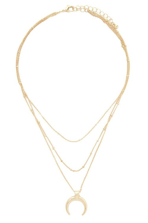 Horn Pendant Layered Chain Necklace, image 2
