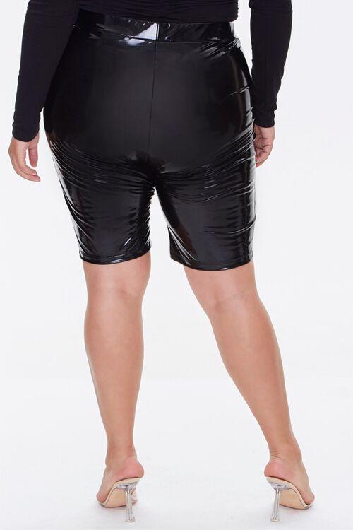 Plus Size Faux Patent Biker Shorts, image 4