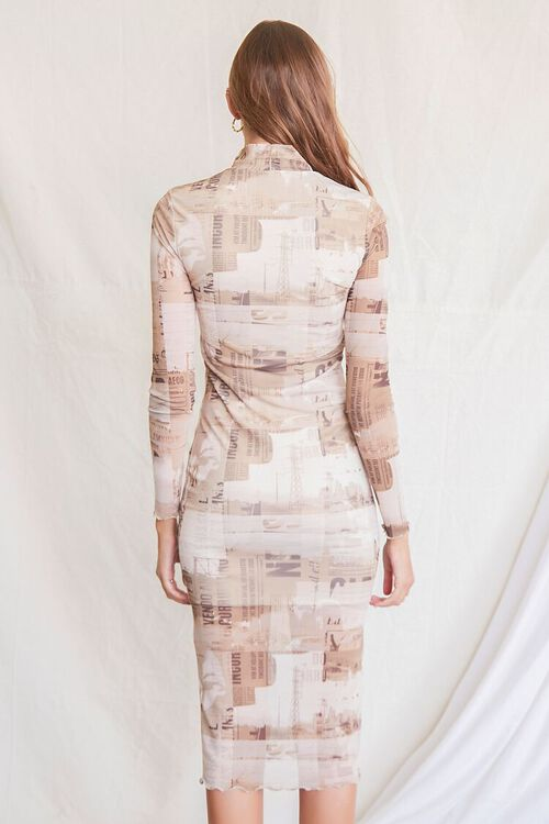 LIGHT BROWN/MULTI Newspaper Print Bodycon Dress, image 3