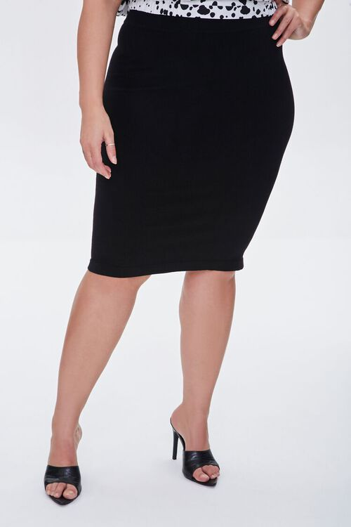 Plus Size Sweater-Knit Pencil Skirt, image 2