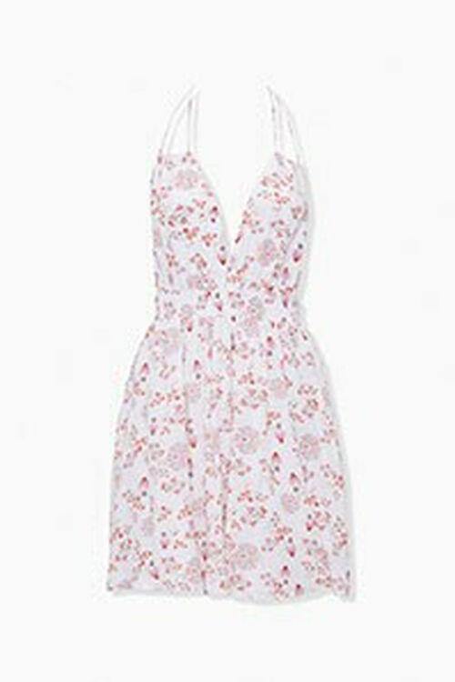 CREAM/MULTI Crinkled Floral Halter Dress, image 1