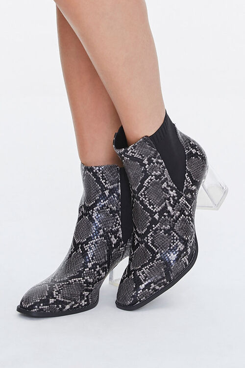 Faux Snakeskin Lucite Booties, image 1
