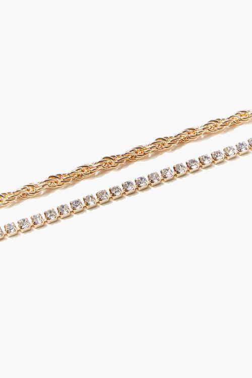 GOLD Twisted Rhinestone Anklet Set, image 3
