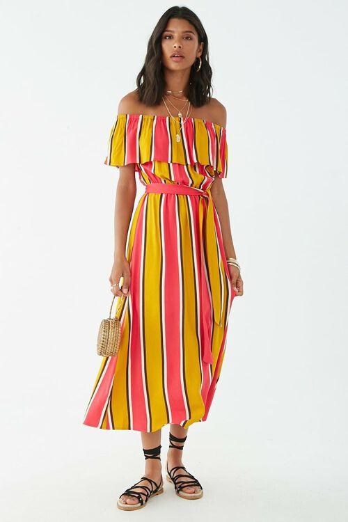 Striped Off-the-Shoulder Flounce Maxi Dress, image 4