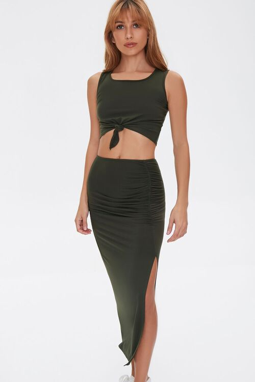Crop Top & Midi Skirt Set, image 1