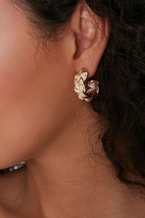 High-Polish Braided Hoop Earrings, image 1