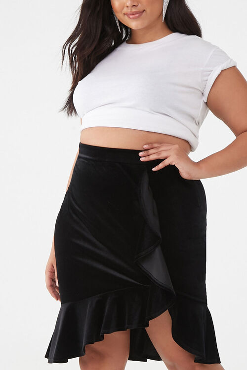 Plus Size Velvet High-Low Skirt, image 1