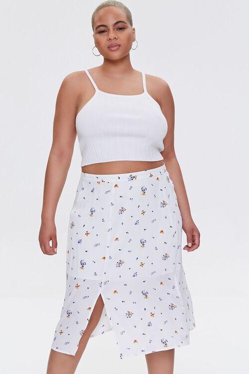 Plus Size Floral Print Skirt, image 1