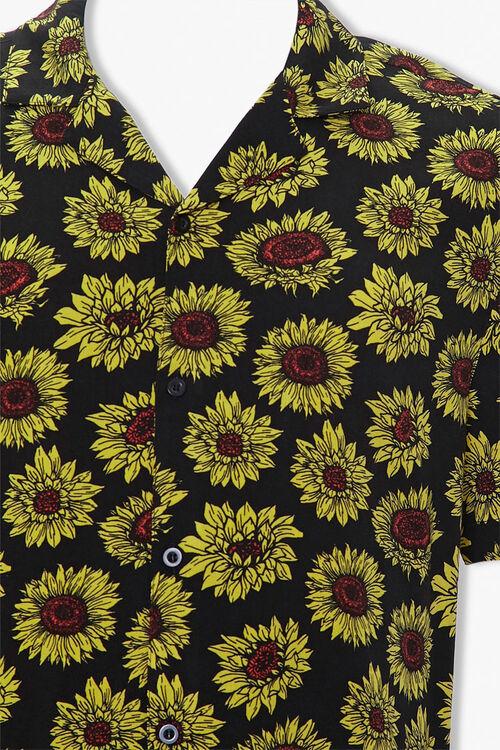 BLACK/YELLOW Sunflower Print Classic Fit Shirt, image 3