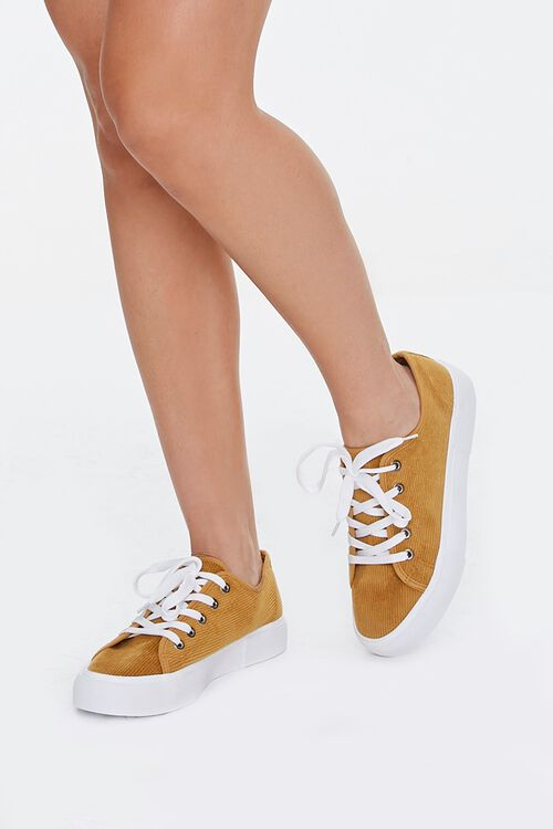 Lace-Up Corduroy Sneakers, image 1
