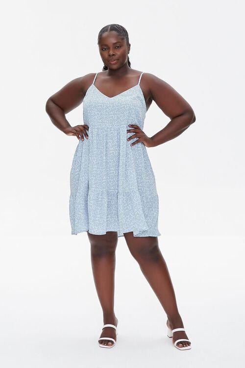 LIGHT BLUE/MULTI Plus Size Floral Print Mini Dress, image 4