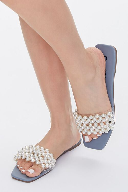 Faux Pearl Slip-On Sandals, image 1