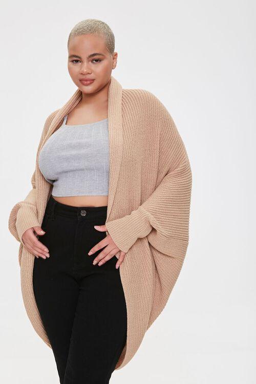 Plus Size Cocoon Cardigan Sweater, image 1